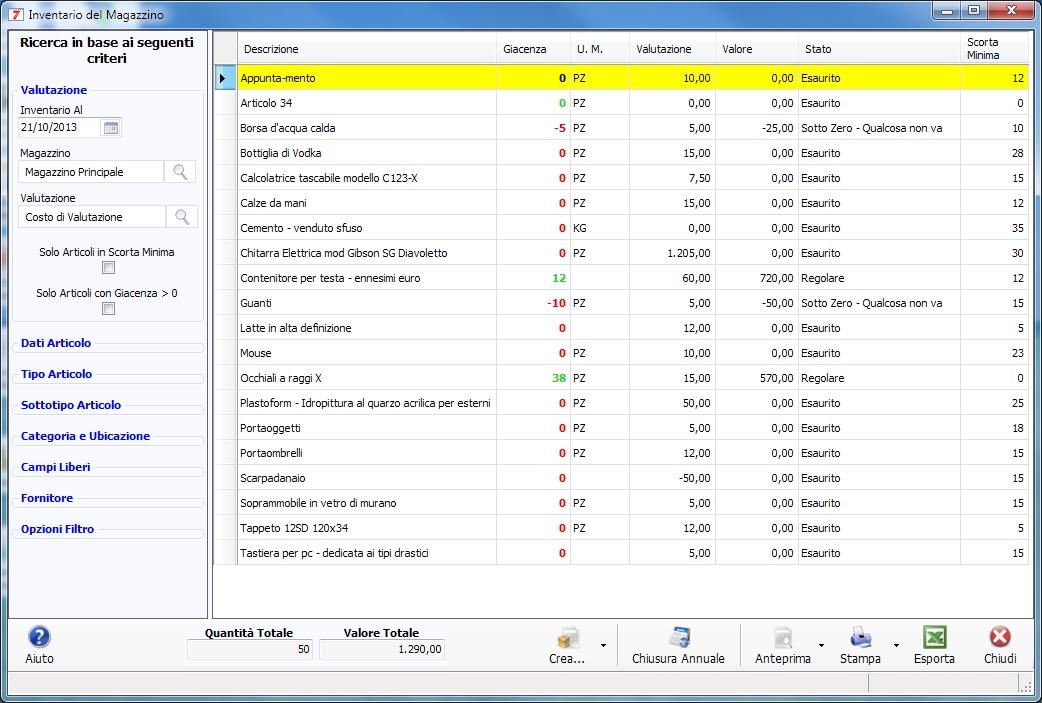programma software inventario di magazzino